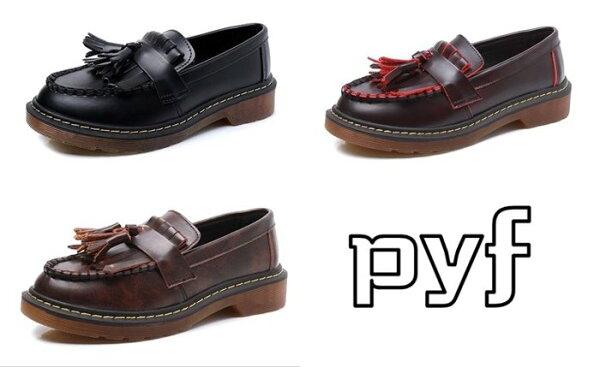 Pyf♥真皮復古英倫學院風流蘇牛津厚底鞋平底鞋懶人鞋43大尺碼女鞋