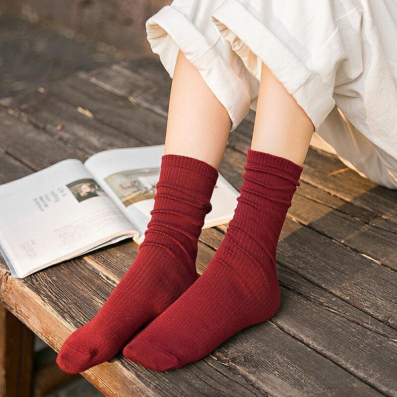 台灣現貨 堆堆襪 日系 長襪 純色 針織襪 韓系 少女襪 百搭 四季 網紅 網美 中筒襪 復古 糖果色 襪子 長筒襪 3