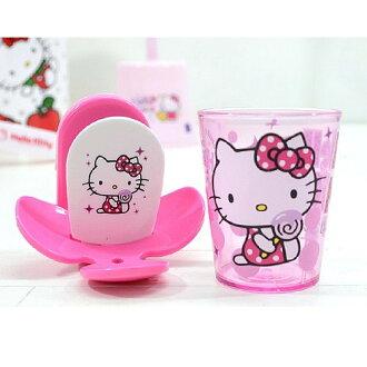 【真愛日本】18030700001 漱口杯牙刷架組-棒棒糖粉 凱蒂貓 KITTY 牙刷架 漱口杯 個人清潔用品 塑膠製