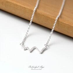925純銀項鍊 波浪感造型閃亮亮鎖骨鍊頸鍊 抗過敏設計 率性自我風格 柒彩年代【NPB51】美鑽概念