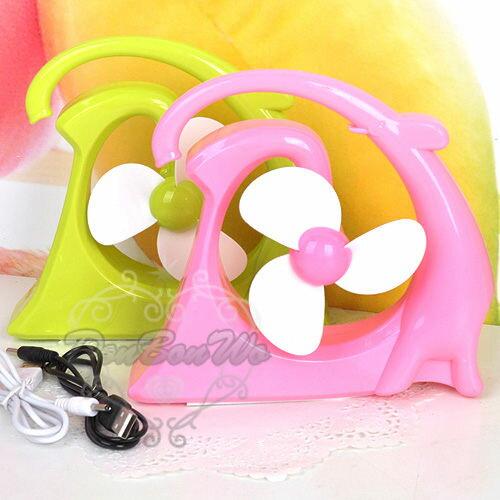 韓系小物大象電風扇桌上型USB清涼一下綠粉061612海渡