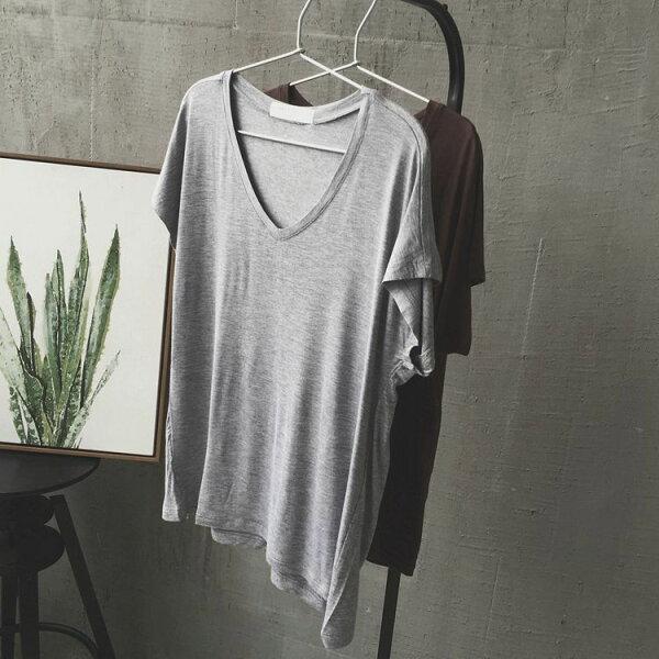 純色V領莫代爾棉短袖T恤樂天時尚館。預購。[全店免運]