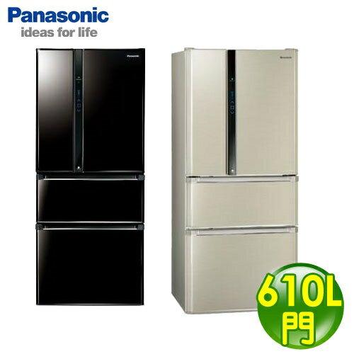 Panasonic 國際牌 EcoNavi 610L 四門變頻冰箱 NR-D618HV-L香檳金 B光釉黑