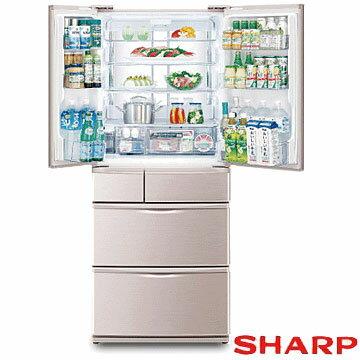 SHARP 夏普 SJ-XF56W-N 環保冰箱 560公升 無中柱式六門對開 日本原裝進口 ★夏季盛會2014/7/30前買就送迪朗奇快煮壺