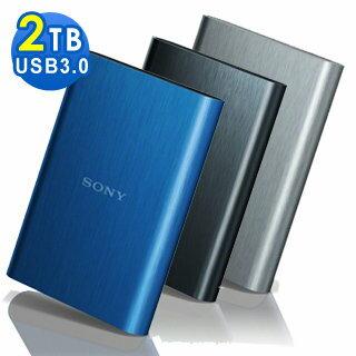 SONY 髮絲紋 2TB USB3.0 2.5吋行動硬碟 HD-E2 USB 3.0 規格,使傳輸速度更快 2T