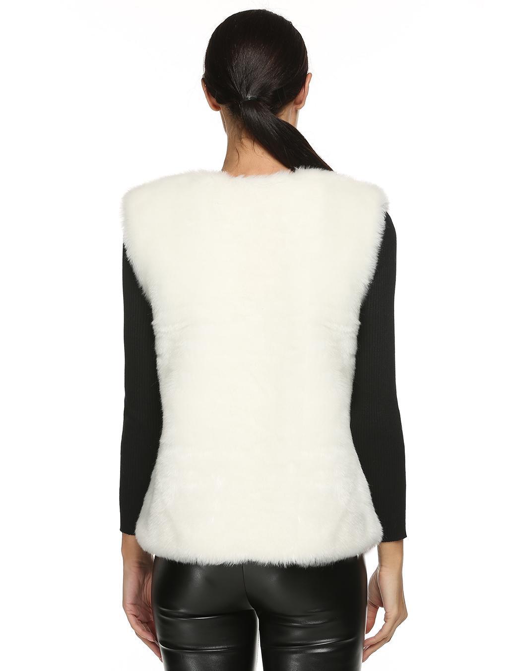 Women Sleeveless Casual Faux Fur Vest Warm Coat 4