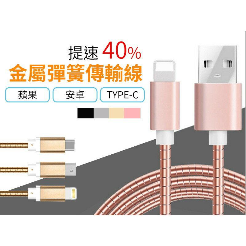 高速傳輸 金屬彈簧充電線 手機傳輸線 充電線 安卓 蘋果 Type-c 防纏繞 數據線 【AB821】