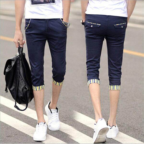 糖衣子輕鬆購【BA0183】韓版潮流時尚男款百搭休閒修身顯瘦7分褲休閒褲
