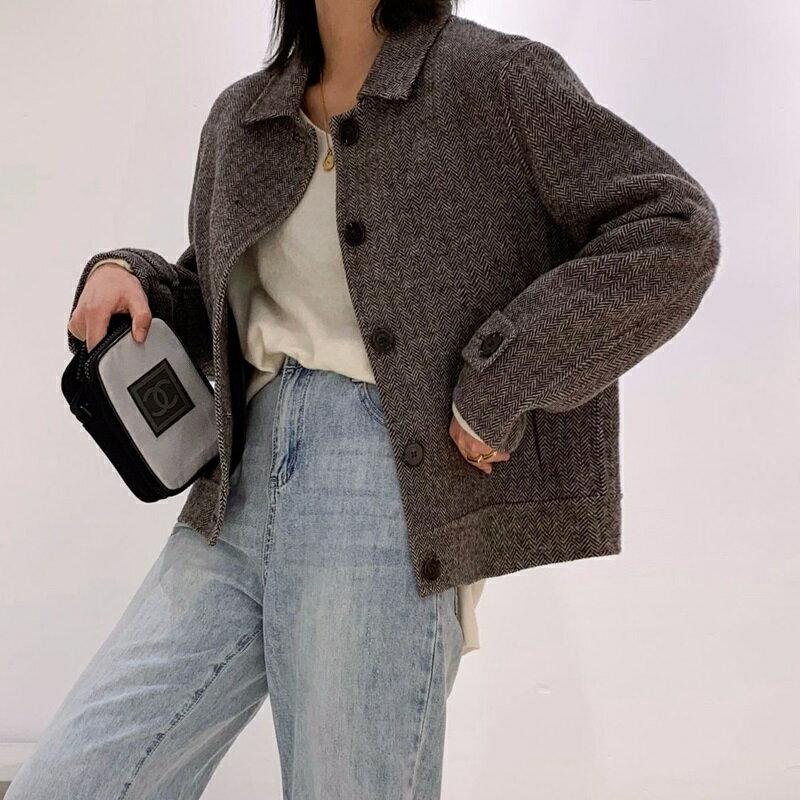 毛呢大衣羊毛外套-短版單排扣簡約人字紋女外套2色73wb27【獨家進口】【米蘭精品】 2