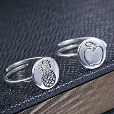 ~925純銀戒指銀飾~小巧可愛蘋果鳳梨圖形 母親節生日情人節 女飾品2款73dx41~ ~