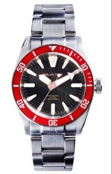 RELAX TIME 海神系列 300米潛水機械腕錶 (RT-77-3-1) 銀x紅