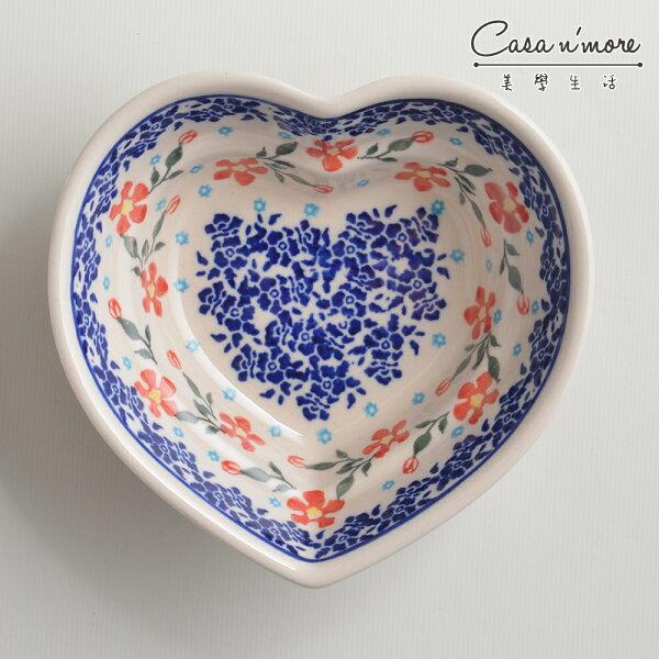 波蘭陶藍印紅花系列愛心造型烤盤烘焙盤蛋糕盤水果盤點心盤波蘭手工製