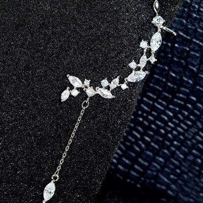 ~925純銀耳環鑲鑽耳飾~ 清新樹葉情人節生日 女飾品73du47~ ~~米蘭 ~