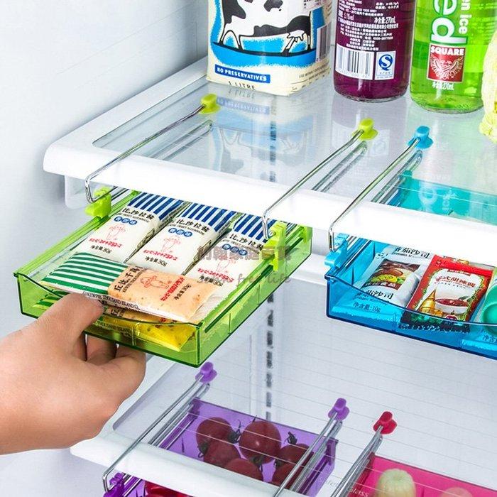 約翰家庭百貨》【AA300】冰箱隔層抽屜收納架 抽動式多用收納盒 置物盒 有效利用冰箱空間 隨機出貨