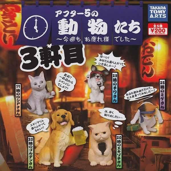 sightme看過來購物城:全套5款【日本進口】動物的下班後時光P3第三彈扭蛋擺飾貓咪狗狗TAKARATOMYS