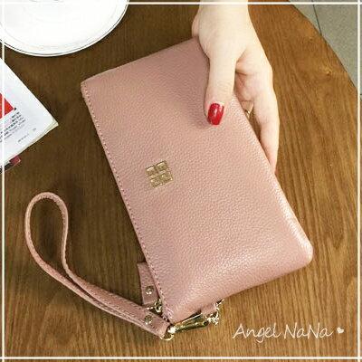 (現貨)手拿包。AngelNaNa  真皮 牛皮 大容量 手機包 女皮夾 長夾 零錢包 附手腕帶【MA0188】