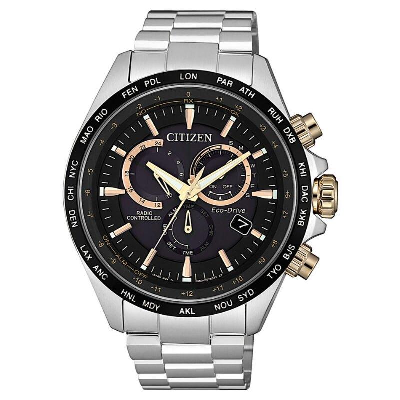 CITIZEN 星辰GENTS系列時尚男錶 光動能電波三眼腕錶 CB5834-86E 黑x銀/45mm