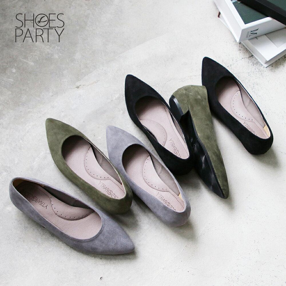 【F2-19913L】高質感羊絨尖頭低跟鞋_Shoes Party 0