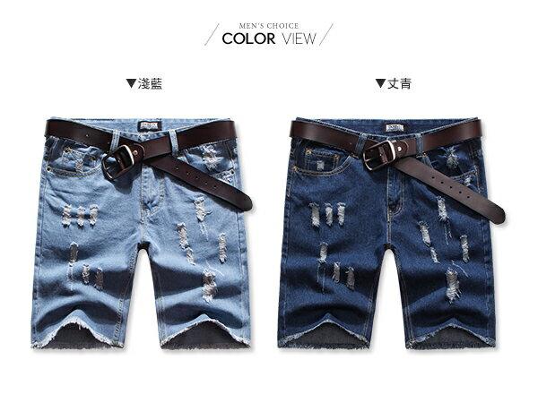 ☆BOY-2☆【ND3961】牛仔褲 韓版休閒抓破抽鬚五分短褲 1