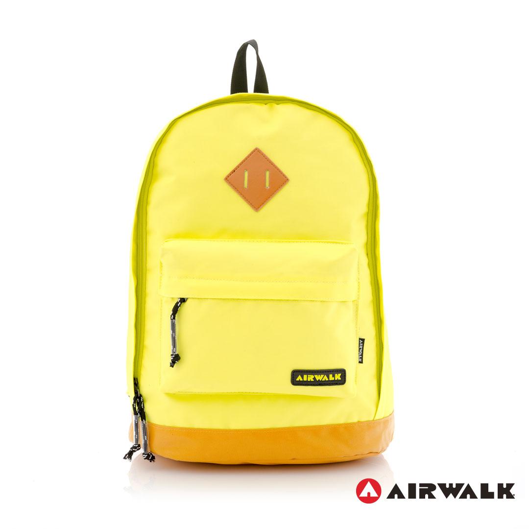 AIRWALK街頭系列-古著布紋 簡單多彩豬鼻系列 筆電後背包(A331320961 小豬黃)