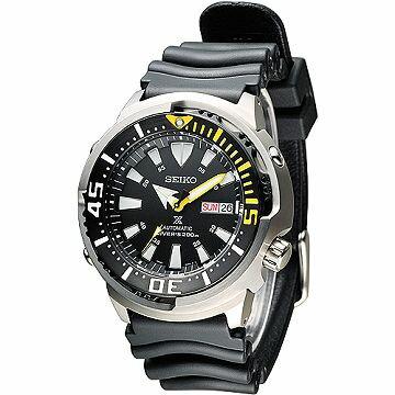 SEIKO 深海巨匠鮪魚罐頭潛水200米自動機械男錶-黑(SRP639K1)
