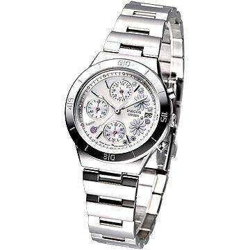 CITIZEN WICCA瑪格麗特菊計時腕錶-白貝(FA1007-57A)