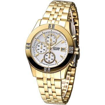 CITIZEN 氣質仕女3眼計時晶鑽腕錶(IP金) FA1042-56A