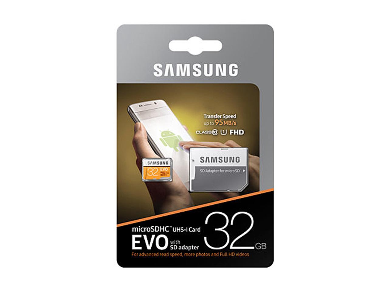 Samsung EVO 95MB/s 32GB microSDHC Class 10 32G microSD micro SD SDHC UHS-I U1 C10 MB-MP32GA with Original SD Adapter 1