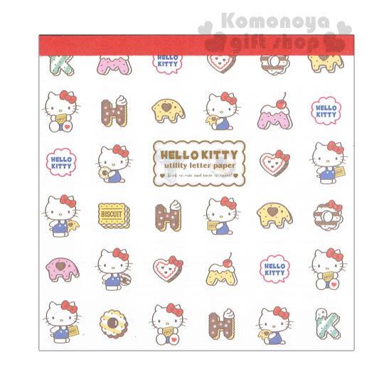 〔小禮堂〕Hello Kitty 方形信紙本《白.多動作.餅乾滿版》內有3款內頁.45張