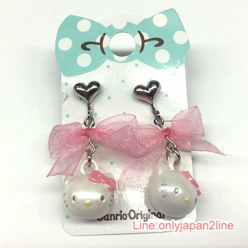 【真愛日本】17040600039 夾式耳環-KT大頭緞帶粉AAI 三麗鷗Hello Kitty凱蒂貓 耳環 飾品
