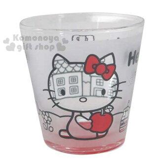 〔小禮堂〕Hello Kitty 玻璃杯《透明.側坐.抱蘋果.370ml》外表霧面設計