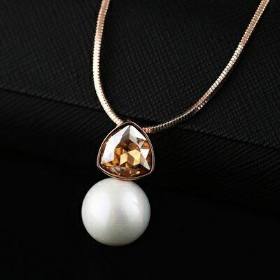 ~純銀項鍊 鍍18K金珍珠吊墜~情人節生日 簡約百搭女飾品3色73dn14~ ~~米蘭 ~