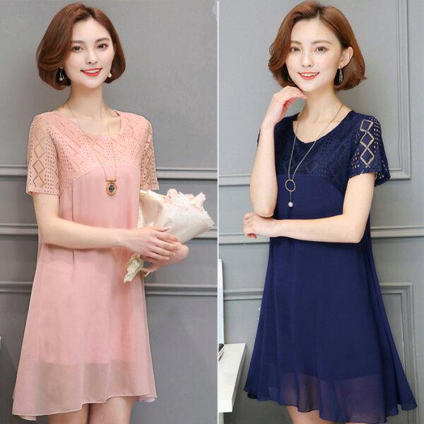 糖衣子輕鬆購【GH8820】韓版時尚潮流鏤空性感蕾絲拼接雪紡連身裙長版上衣