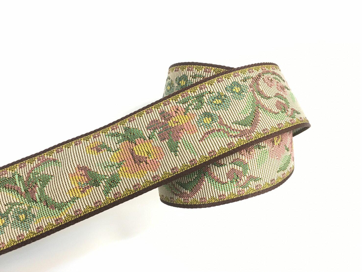 古董緹花-典雅粉花緞帶 38mm 2碼 - 限時優惠好康折扣