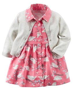 NANABABY:【美國Carter's】套裝二件組-甜蜜小鳥兒圖騰洋裝+純棉針織外套#121G883