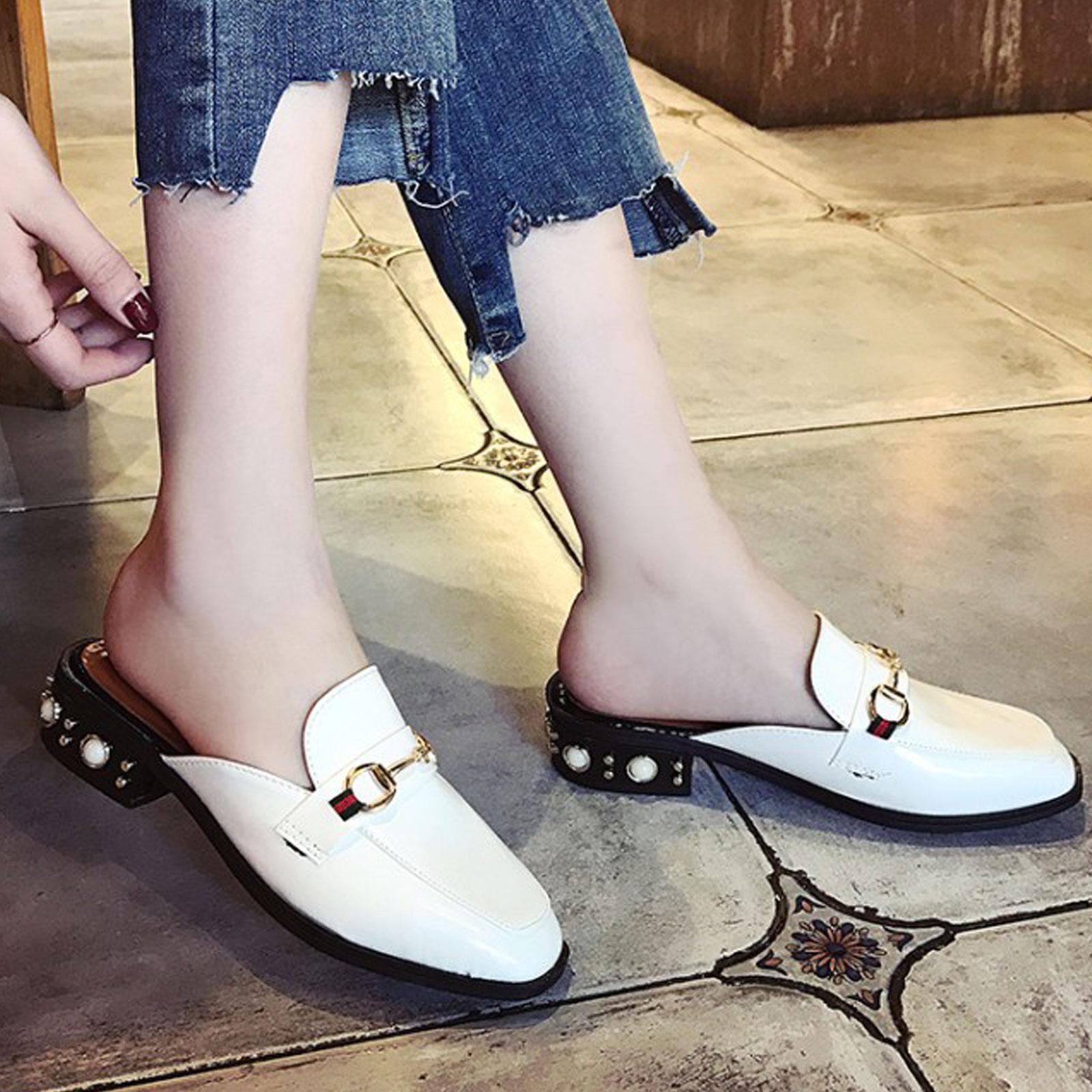 懶人鞋 淺口珍珠裝飾方頭粗跟半拖鞋【S1693】☆雙兒網☆ 3