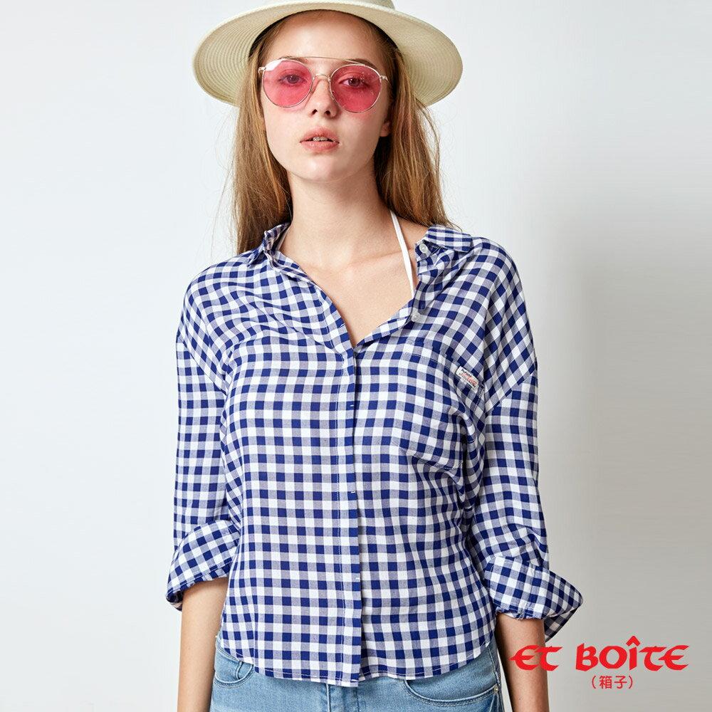 【春夏新品】後開襟剪裁浪漫後綁帶襯衫(藍格) - BLUE WAY  ET BOiTE 箱子 4