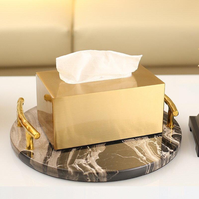 美式輕奢風紙巾盒抽紙高檔客廳餐桌裝飾現代簡約茶幾家用創意擺件 露露生活館