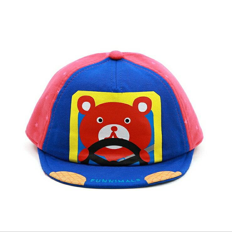 Funnimals◆可愛卡通小熊開車車星點撞色帽兒童帽鴨舌帽-粉色