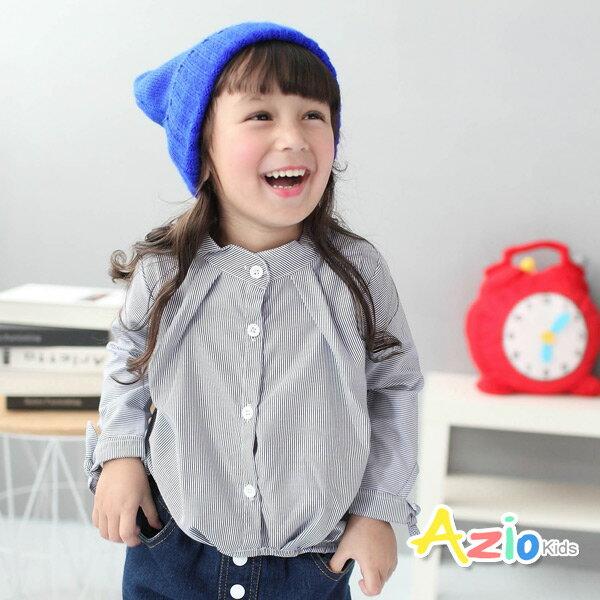 ~Azio Kids 美國派 ~襯衫 立領直紋綁帶袖下擺抓皺長袖襯衫 藍