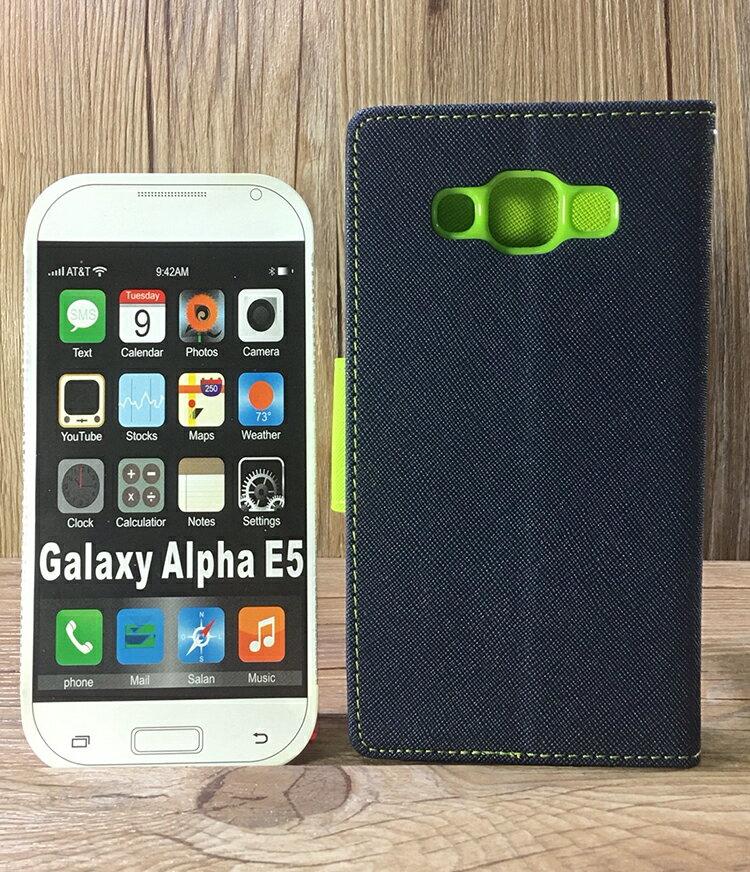 福利品側翻皮套 SAMSUNG Galaxy E5 SM-E500/E7 SM-E700 撞色皮套 可立式 插卡 保護套 手機套