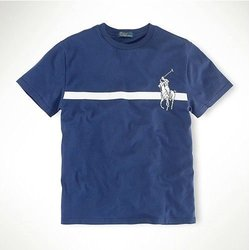 美國百分百【全新真品】Ralph Lauren T恤 男衣 RL 短袖 POLO 深藍 上衣 T-shirt 大馬 S號 A089