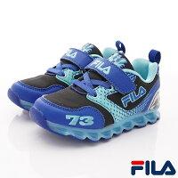 FILA電燈賽車鞋款 EI52S-303黑藍(中小童段)-星空嵐-媽咪親子推薦
