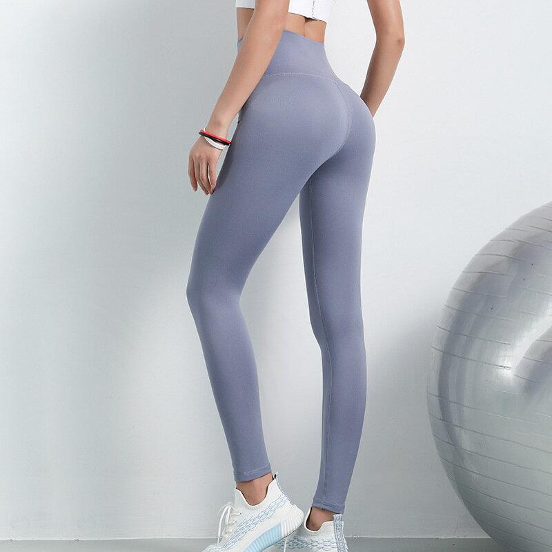 2021裸感瑜伽褲女高腰蜜桃提臀跑步緊身高彈力小腳運動健身褲