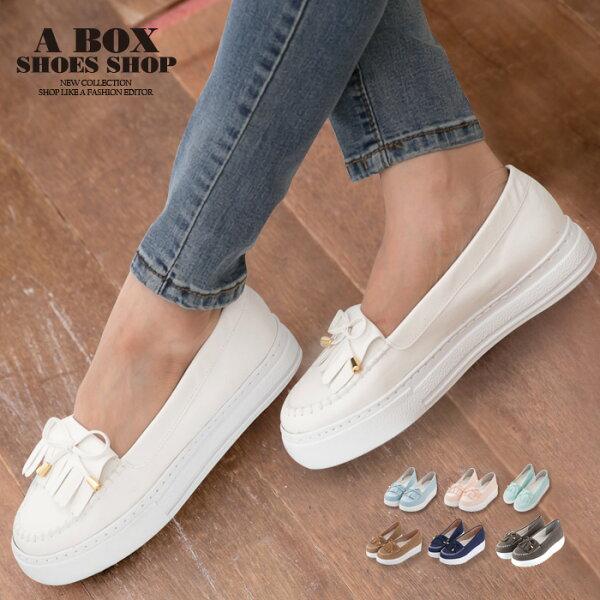 【KITW9031】MIT台灣製韓版熱賣莫卡辛流蘇金屬蝴蝶結厚底增高鬆糕鞋6色