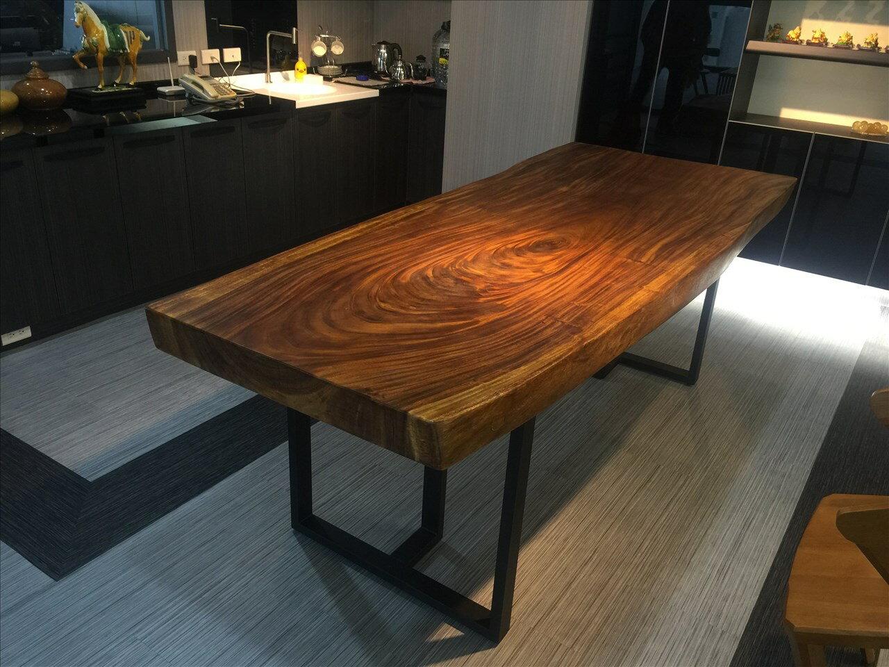 【石川家居】UG-122 鐵木自然邊推油厚板8尺餐桌 /會議桌 /泡茶桌