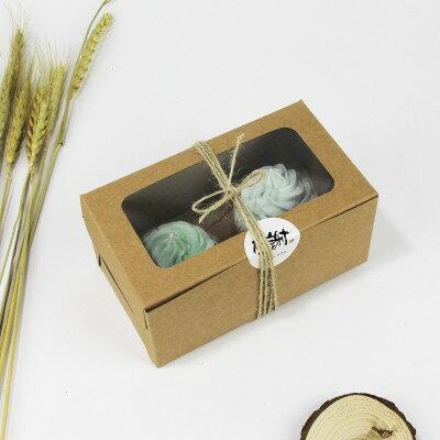 【嚴選shop】2格 開窗牛皮紙方盒 白色紙盒 馬芬瑪芬盒 杯子蛋糕盒 慕斯奶酪盒 手提盒 禮盒 蛋塔盒 【C016】