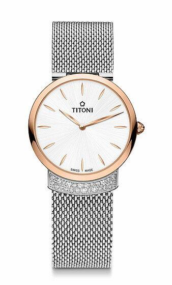 TITONI瑞士梅花錶優雅伊人系列TQ42912SRG-590簡約金屬時尚腕錶/玫瑰金+白32mm