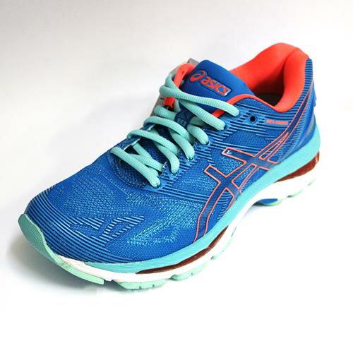 五折~ASICS 亞瑟士 女 GEL-NIMBUS 19 慢跑鞋 運動鞋 高緩衝避震 亞瑟膠 T750N-4306 藍 橘 [陽光樂活]