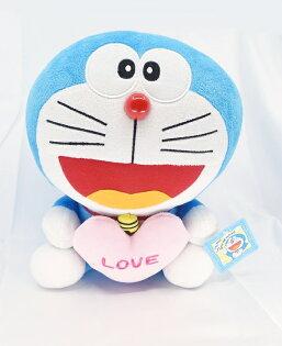 X射線【C030685】哆啦A夢Doraemon12吋玩偶-粉LOVE,絨毛填充玩偶玩具公仔抱枕靠枕娃娃